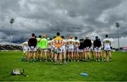 15 June 2019; The Offaly team stand for the national anthem Amhrán na bhFiann prior to the Joe McDonagh Cup Round 5 match between Kerry and Offaly at Austin Stack Park, Tralee in Kerry. Photo by Brendan Moran/Sportsfile