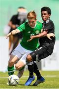 15 June 2019; Connor Ronan of Republic of Ireland in action against Pablo Cesar Lopez of Mexico during the 2019 Maurice Revello Toulon Tournament third place play-off  match between Mexico and Republic of Ireland at Stade d'Honneur Marcel Roustan in Salon-de-Provence, France. Photo by Alexandre Dimou/Sportsfile