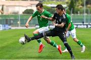 15 June 2019; Lee O'Connor of Republic of Ireland in action against Cristian Yonathan Calderon of Mexico during the 2019 Maurice Revello Toulon Tournament third place play-off match between Mexico and Republic of Ireland at Stade d'Honneur Marcel Roustan in Salon-de-Provence, France. Photo by Alexandre Dimou/Sportsfile
