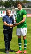 15 June 2019; Conor Masterson of Republic of Ireland receives the fourth place trophy following the 2019 Maurice Revello Toulon Tournament third place play-off match between Mexico and Republic of Ireland at Stade d'Honneur Marcel Roustan in Salon-de-Provence, France. Photo by Alexandre Dimou/Sportsfile
