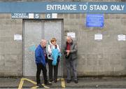 15 June 2019; Galway supporters, from left, Joe Dempsey, Patsy Callanan and Pauric Kelly wait for the turnstiles to open ahead of the Leinster GAA Hurling Senior Championship Round 5 match between Dublin and Galway at Parnell Park in Dublin. Photo by Ramsey Cardy/Sportsfile