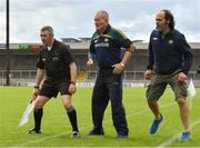 15 June 2019; Offaly manager Joachim Kelly, selector Ger Oakley and linesman Liam Gordon look on during the second half of the Joe McDonagh Cup Round 5 match between Kerry and Offaly at Austin Stack Park, Tralee in Kerry. Photo by Brendan Moran/Sportsfile