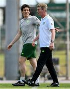 15 June 2019; Republic of Ireland head coach Stephen Kenny, right, and assistant coach Keith Andrews and during the 2019 Maurice Revello Toulon Tournament Third Place Play-off match between Mexico and Republic of Ireland at Stade d'Honneur Marcel Roustan in Salon-de-Provence, France. Photo by Alexandre Dimou/Sportsfile