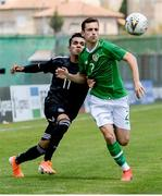 15 June 2019; Lee O'Connor of Republic of Ireland in action against UIlises Israel Cardona of Mexico during the 2019 Maurice Revello Toulon Tournament Third Place Play-off match between Mexico and Republic of Ireland at Stade d'Honneur Marcel Roustan in Salon-de-Provence, France. Photo by Alexandre Dimou/Sportsfile