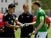 15 June 2019; Jesus Alberto Angulo of Mexico and Conor Masterson of Republic of  Ireland exchange pennants prior to the 2019 Maurice Revello Toulon Tournament Third Place Play-off match between Mexico and Republic of Ireland at Stade d'Honneur Marcel Roustan in Salon-de-Provence, France. Photo by Alexandre Dimou/Sportsfile