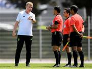 15 June 2019; Republic of Ireland head coach Stephen Kenny speaks with referees during the 2019 Maurice Revello Toulon Tournament Third Place Play-off match between Mexico and Republic of Ireland at Stade d'Honneur Marcel Roustan in Salon-de-Provence, France. Photo by Alexandre Dimou/Sportsfile