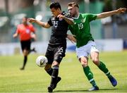 15 June 2019; Aaron Drinan of Republic of  Ireland in action against Brayton Josue Vazquez of Mexico during the 2019 Maurice Revello Toulon Tournament Third Place Play-off match between Mexico and Republic of Ireland at Stade d'Honneur Marcel Roustan in Salon-de-Provence, France. Photo by Alexandre Dimou/Sportsfile