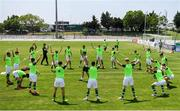 15 June 2019; Republic of Ireland players warm-up prior to the 2019 Maurice Revello Toulon Tournament Third Place Play-off match between Mexico and Republic of Ireland at Stade d'Honneur Marcel Roustan in Salon-de-Provence, France. Photo by Alexandre Dimou/Sportsfile