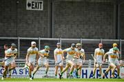 15 June 2019; The Offaly team warm up prior to the Joe McDonagh Cup Round 5 match between Kerry and Offaly at Austin Stack Park, Tralee in Kerry. Photo by Brendan Moran/Sportsfile