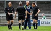 15 June 2019; Offaly manager Joachim Kelly shakes hands with referee Colm Lyons prior to the Joe McDonagh Cup Round 5 match between Kerry and Offaly at Austin Stack Park, Tralee in Kerry. Photo by Brendan Moran/Sportsfile