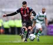 14 June 2019; Daniel Mandroiu of Bohemians takes a penalty, which is saved by Alan Mannus of Shamrock Rovers, during the SSE Airtricity League Premier Division match between Bohemians and Shamrock Rovers at Dalymount Park in Dublin. Photo by Ben McShane/Sportsfile
