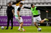 14 June 2019; Trevor Clarke, right, and Aaron Greene of Shamrock Rovers prior to the SSE Airtricity League Premier Division match between Bohemians and Shamrock Rovers at Dalymount Park in Dublin. Photo by Ben McShane/Sportsfile