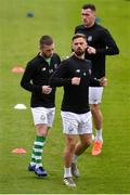 14 June 2019; Shamrock Rovers players, from front, Greg Bolger, Jack Byrne and Aaron Greene warm-up prior to the SSE Airtricity League Premier Division match between Bohemians and Shamrock Rovers at Dalymount Park in Dublin. Photo by Ben McShane/Sportsfile