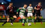 14 June 2019; Jack Byrne of Shamrock Rovers and Robbie McCourt of Bohemians during the SSE Airtricity League Premier Division match between Bohemians and Shamrock Rovers at Dalymount Park in Dublin. Photo by Ben McShane/Sportsfile