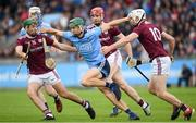 15 June 2019; Chris Crummey of Dublin in action against Brian Concannon, left, Jonathan Glynn, centre, and Cathal Mannion of Galway during the Leinster GAA Hurling Senior Championship Round 5 match between Dublin and Galway at Parnell Park in Dublin. Photo by Ramsey Cardy/Sportsfile