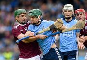 15 June 2019; Chris Crummey of Dublin is tackled by Brian Concannon of Galway during the Leinster GAA Hurling Senior Championship Round 5 match between Dublin and Galway at Parnell Park in Dublin. Photo by Ramsey Cardy/Sportsfile