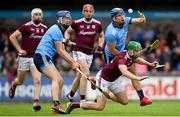 15 June 2019; Adrian Tuohy of Galway in action against Seán Moran, left, and Conal Keaney of Dublin during the Leinster GAA Hurling Senior Championship Round 5 match between Dublin and Galway at Parnell Park in Dublin. Photo by Ramsey Cardy/Sportsfile