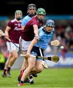 15 June 2019; Seán Moran of Dublin in action against David Burke of Galway during the Leinster GAA Hurling Senior Championship Round 5 match between Dublin and Galway at Parnell Park in Dublin. Photo by Ramsey Cardy/Sportsfile