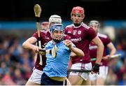 15 June 2019; Seán Moran of Dublin in action against Cathal Mannion of Galway during the Leinster GAA Hurling Senior Championship Round 5 match between Dublin and Galway at Parnell Park in Dublin. Photo by Ramsey Cardy/Sportsfile
