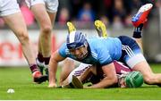 15 June 2019; Adrian Tuohy of Galway in action against Conal Keaney of Dublin during the Leinster GAA Hurling Senior Championship Round 5 match between Dublin and Galway at Parnell Park in Dublin. Photo by Ramsey Cardy/Sportsfile