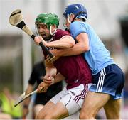 15 June 2019; Adrian Tuohy of Galway in action against Seán Moran of Dublin during the Leinster GAA Hurling Senior Championship Round 5 match between Dublin and Galway at Parnell Park in Dublin. Photo by Ramsey Cardy/Sportsfile
