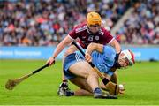 15 June 2019; Paddy Smyth of Dublin in action against David Glennon of Galway during the Leinster GAA Hurling Senior Championship Round 5 match between Dublin and Galway at Parnell Park in Dublin. Photo by Ramsey Cardy/Sportsfile