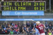 15 June 2019; Cathal Mannion of Galway takes a free during the Leinster GAA Hurling Senior Championship Round 5 match between Dublin and Galway at Parnell Park in Dublin. Photo by Ramsey Cardy/Sportsfile