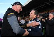 15 June 2019; Kilkenny manager Brian Cody and Wexford manager Davy Fitzgerald share a joke after the Leinster GAA Hurling Senior Championship Round 5 match between Wexford and Kilkenny at Innovate Wexford Park in Wexford. Photo by Piaras Ó Mídheach/Sportsfile