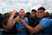 15 June 2019; Dublin players, from left, Eamonn Dillon, Eoghan O'Donnell and Cian Hendricken following the Leinster GAA Hurling Senior Championship Round 5 match between Dublin and Galway at Parnell Park in Dublin. Photo by Ramsey Cardy/Sportsfile