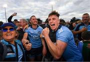 15 June 2019; Dublin players Eamonn Dillon, 15, and Cian Hendricken celebrate following the Leinster GAA Hurling Senior Championship Round 5 match between Dublin and Galway at Parnell Park in Dublin. Photo by Ramsey Cardy/Sportsfile