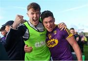 15 June 2019; Wexford players Joe O'Connor, left, and Conor McDonald celebrate after the Leinster GAA Hurling Senior Championship Round 5 match between Wexford and Kilkenny at Innovate Wexford Park in Wexford. Photo by Piaras Ó Mídheach/Sportsfile