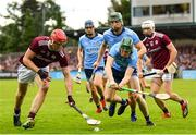 15 June 2019; James Madden of Dublin in action against Jonathan Glynn of Galway during the Leinster GAA Hurling Senior Championship Round 5 match between Dublin and Galway at Parnell Park in Dublin. Photo by Ramsey Cardy/Sportsfile