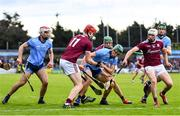 15 June 2019; Chris Crummey of Dublin in action against Jonathan Glynn, left, and Cathal Mannion of Galway during the Leinster GAA Hurling Senior Championship Round 5 match between Dublin and Galway at Parnell Park in Dublin. Photo by Ramsey Cardy/Sportsfile