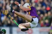 15 June 2019; Rory O'Connor of Wexford is sent flying in the air after he was tackled by Kilkenny goalkeeper Eoin Murphy in the first half during the Leinster GAA Hurling Senior Championship Round 5 match between Wexford and Kilkenny at Innovate Wexford Park in Wexford. Photo by Piaras Ó Mídheach/Sportsfile