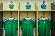16 June 2019; The jerseys of William O'Donoghue, Shane Dowling and Kyle Hayes hang in the dressing room prior to the Munster GAA Hurling Senior Championship Round 5 match between Tipperary and Limerick in Semple Stadium in Thurles, Co. Tipperary. Photo by Diarmuid Greene/Sportsfile