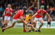 16 June 2019; Diarmuid Cahill of Clare in action against Luke Horgan of Cork during the Electric Ireland Munster Minor Hurling Championship match between Clare and Cork at Cusack Park in Ennis, Clare. Photo by Eóin Noonan/Sportsfile