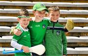 16 June 2019; Limerick supporters Eoin Reynolds, left, five years, Cian Hickey, 10, and Conor Hickey, right, 7, before the Munster GAA Hurling Senior Championship Round 5 match between Tipperary and Limerick in Semple Stadium in Thurles, Tipperary. Photo by Ray McManus/Sportsfile