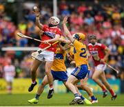 16 June 2019; Luke Meade of Cork in action against Seadna Morey of Clare during the Munster GAA Hurling Senior Championship Round 5 match between Clare and Cork at Cusack Park in Ennis, Clare. Photo by Eóin Noonan/Sportsfile