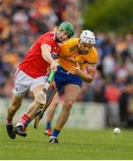 16 June 2019; Seamus Harnedy of Cork in action against Conor Cleary of Clare during the Munster GAA Hurling Senior Championship Round 5 match between Clare and Cork at Cusack Park in Ennis, Clare. Photo by Eóin Noonan/Sportsfile