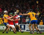 16 June 2019; Seamus Harnedy of Cork in action against Patrick O'Connor of Clare during the Munster GAA Hurling Senior Championship Round 5 match between Clare and Cork at Cusack Park in Ennis, Clare. Photo by Eóin Noonan/Sportsfile