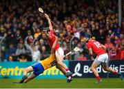 16 June 2019; Mark Ellis of Cork in action against Jack Browne of Clare during the Munster GAA Hurling Senior Championship Round 5 match between Clare and Cork at Cusack Park in Ennis, Clare. Photo by Eóin Noonan/Sportsfile