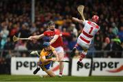 16 June 2019; Anthony Nash of Cork saves a shot on goal by Shane O'Donnell of Clare during the Munster GAA Hurling Senior Championship Round 5 match between Clare and Cork at Cusack Park in Ennis, Clare. Photo by Eóin Noonan/Sportsfile