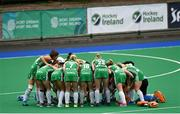 16 June 2019; Ireland players in a pre-game team huddle before the FIH World Hockey Series Final match between Ireland and Korea at Banbridge Hockey Club in Banbridge, Down.  Photo by Oliver McVeigh/Sportsfile