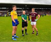16 June 2019; Referee Barry Cassidy with captains Enda Smith of Roscommon and Gary O'Donnell of Galway prior to the Connacht GAA Football Senior Championship Final match between Galway and Roscommon at Pearse Stadium in Galway. Photo by Seb Daly/Sportsfile