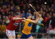 16 June 2019; Shane O'Donnell of Clare in action against Damien Cahalane of Cork during the Munster GAA Hurling Senior Championship Round 5 match between Clare and Cork at Cusack Park in Ennis, Clare. Photo by Eóin Noonan/Sportsfile