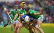 16 June 2019; Padraic Maher of Tipperary  in action against Kyle Hayes of Limerick  during the Munster GAA Hurling Senior Championship Round 5 match between Tipperary and Limerick in Semple Stadium in Thurles, Tipperary. Photo by Ray McManus/Sportsfile