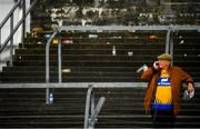 16 June 2019; A Clare supporter in the stands following the Munster GAA Hurling Senior Championship Round 5 match between Clare and Cork at Cusack Park in Ennis, Clare. Photo by Eóin Noonan/Sportsfile