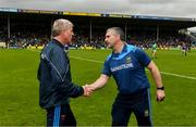 16 June 2019; Limerick manager John Kiely and Tipperary manager Liam Sheedy exchange a handshake after the Munster GAA Hurling Senior Championship Round 5 match between Tipperary and Limerick in Semple Stadium in Thurles, Co. Tipperary. Photo by Diarmuid Greene/Sportsfile