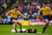 16 June 2019; Conor Hussey of Roscommon in action against Liam Silke of Galway during the Connacht GAA Football Senior Championship Final match between Galway and Roscommon at Pearse Stadium in Galway. Photo by Ramsey Cardy/Sportsfile