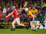 16 June 2019; Sean O' Donoghue of Cork is tackled by Ryan Taylor of Clare during the Munster GAA Hurling Senior Championship Round 5 match between Clare and Cork at Cusack Park in Ennis, Clare. Photo by Eóin Noonan/Sportsfile